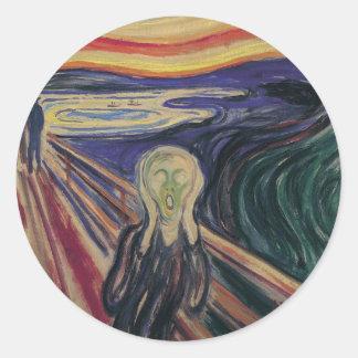 El grito de Edvard Munch, expresionismo del Pegatinas Redondas