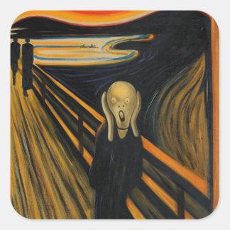 El grito de Edvard Munch Pegatinas Cuadradas