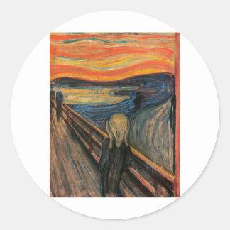 El grito de Edvard Munch Pegatina Redonda
