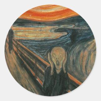 El grito de Edvard Munch Etiquetas Redondas