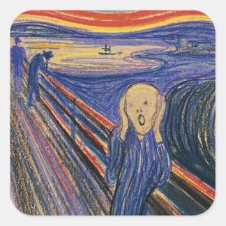 El grito de Edvard Munch Calcomania Cuadradas Personalizadas