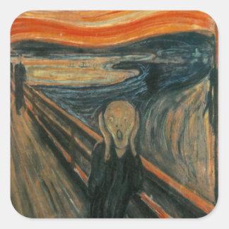 El grito - Edvard Munch Calcomanias Cuadradas