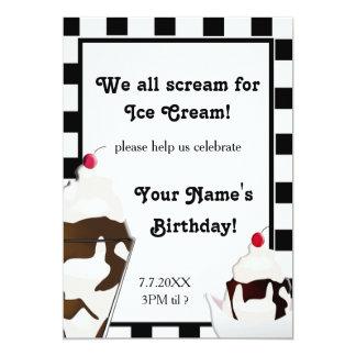 """El grito para la fiesta de cumpleaños del helado invitación 5"""" x 7"""""""