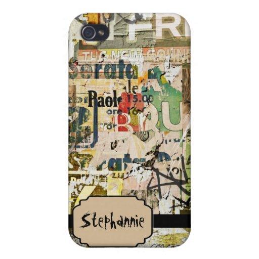 El Grunge Advertisin de papel personalizó la caja  iPhone 4 Carcasas