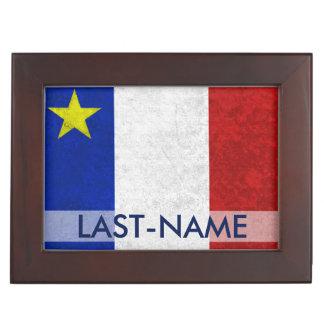 El Grunge apenado apellido acadiense de la bandera Cajas De Recuerdos