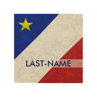 El Grunge apenado apellido acadiense de la bandera Cuadro De Madera
