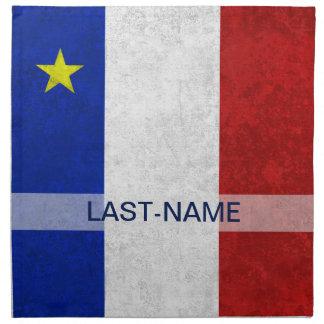 El Grunge apenado apellido acadiense de la bandera Servilleta