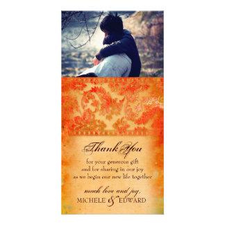 El Grunge colorido del damasco le agradece tarjeta Tarjetas Fotograficas Personalizadas