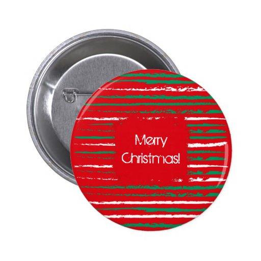 El Grunge de Navidad raya el botón redondo rojo Pin
