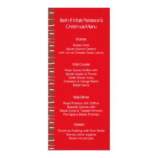 """El Grunge de Navidad raya el menú rojo de la cena Invitación 4"""" X 9.25"""""""