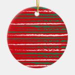 El Grunge de Navidad raya el ornamento rojo
