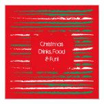 El Grunge de Navidad raya la invitación de la Invitación 13,3 Cm X 13,3cm