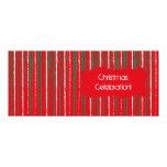 El Grunge de Navidad raya la invitación larga roja Invitación 10,1 X 23,5 Cm