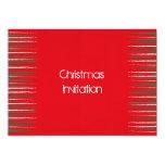El Grunge de Navidad raya la invitación roja Invitación 12,7 X 17,8 Cm