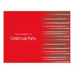 El Grunge de Navidad raya la pequeña invitación Invitación 10,8 X 13,9 Cm