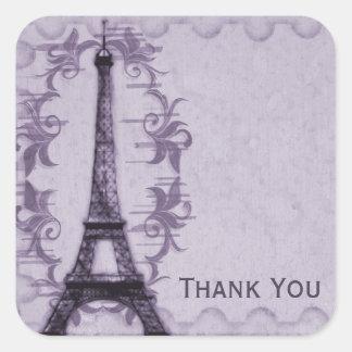El Grunge de París de la lavanda le agradece Calcomanía Cuadrada Personalizada
