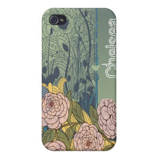 el grunge del vintage florece 4/4s iPhone 4/4S carcasas