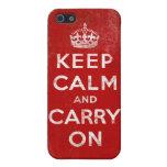 El Grunge del vintage guarda calma y continúa iPhone 5 Carcasa