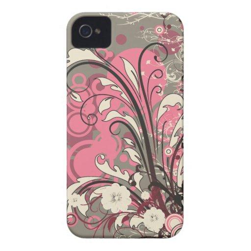 El grunge gris rosado de moda remolina caso del ip Case-Mate iPhone 4 carcasas