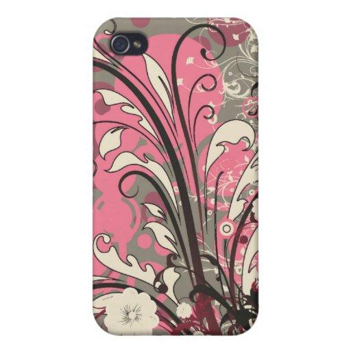 El grunge gris rosado de moda remolina caso del ip iPhone 4 cobertura