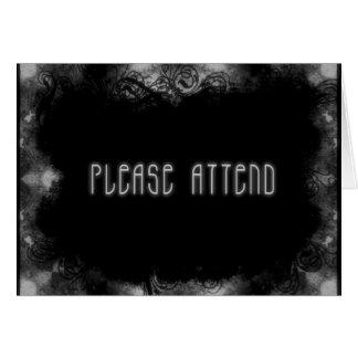 El Grunge invita a 1 asiste por favor - negro y bl Tarjeta Pequeña