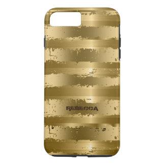 El Grunge metálico del oro raya el modelo Funda iPhone 7 Plus