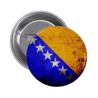 El Grunge negro Bosnia y Herzegovina señala por Pin Redondo De 2 Pulgadas