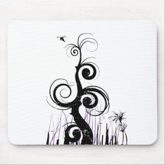 El Grunge negro remolina con el pájaro - púrpura Mouse Pad