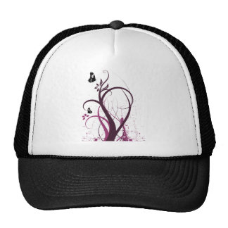 El Grunge remolina rosa de 2 mariposas Gorras