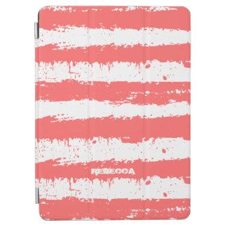 El Grunge rojo coral y blanco raya el modelo Cubierta De iPad Air