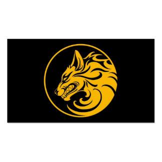 El gruñir círculo amarillo y negro del lobo plantillas de tarjetas personales