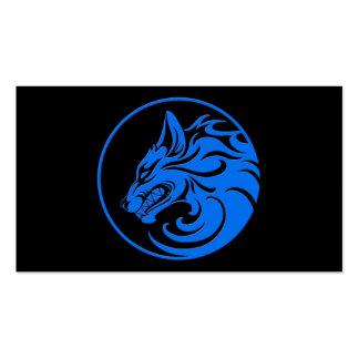 El gruñir círculo azul y negro del lobo tarjeta de visita