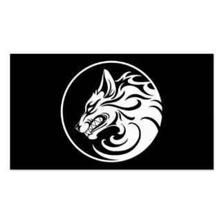 El gruñir círculo blanco y negro del lobo tarjetas de visita