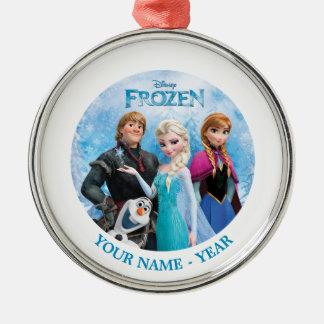 El grupo congelado personalizado añade su nombre adorno navideño redondo de metal
