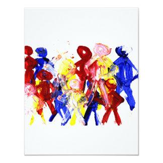 """El grupo de palillo derecho figura la pintura de invitación 4.25"""" x 5.5"""""""