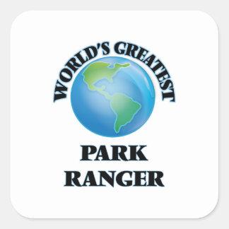 El guarda del parque más grande del mundo pegatina cuadrada