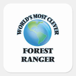 El guardabosques más listo del bosque del mundo calcomanías cuadradas personalizadas