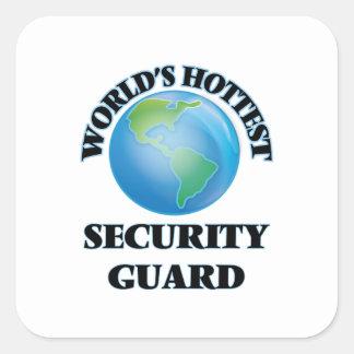 El guardia de la seguridad más caliente del mundo calcomanias cuadradas