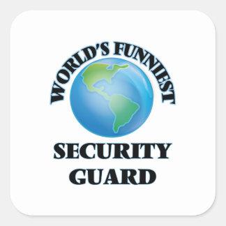 El guardia de la seguridad más divertido del mundo calcomanías cuadradas