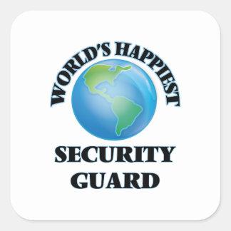 El guardia de la seguridad más feliz del mundo pegatina cuadrada