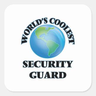 El guardia de la seguridad más fresco del mundo pegatina cuadradas personalizadas