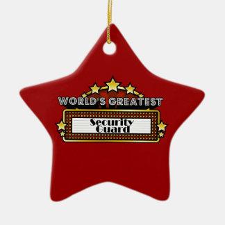 El guardia de la seguridad más grande del mundo adorno navideño de cerámica en forma de estrella