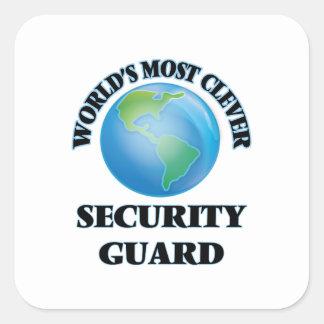 El guardia de la seguridad más listo del mundo pegatina cuadradas
