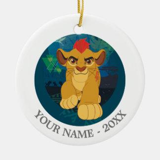 El guardia del león el | Simba añade su nombre Adorno Navideño Redondo De Cerámica