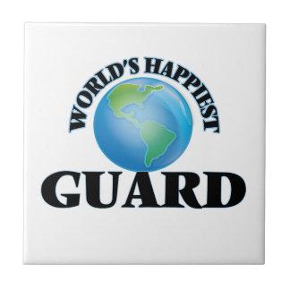 El guardia más feliz del mundo azulejo cuadrado pequeño