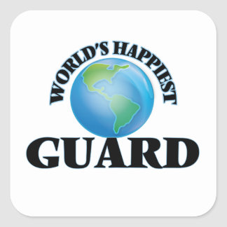 El guardia más feliz del mundo pegatina cuadrada