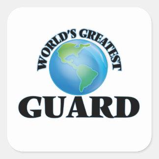 El guardia más grande del mundo calcomanía cuadradas personalizadas