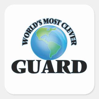 El guardia más listo del mundo calcomania cuadradas personalizada