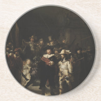 El guardia nocturna de Rembrandt Van Rijn Posavasos De Arenisca