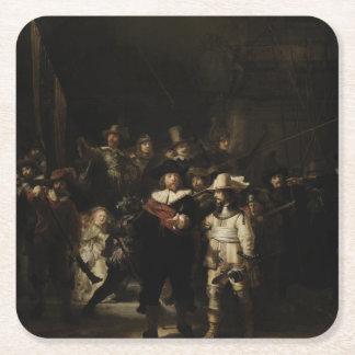 El guardia nocturna de Rembrandt Van Rijn Posavasos Personalizable Cuadrado